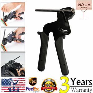 Cable Tie Fasten Gun Pliers Crimper Tensioner Cutter Tool Stainless Metal Pro Us