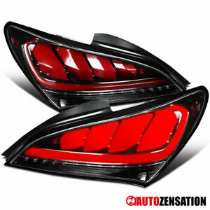 For 2010 2016 Hyundai Genesis Coupe Slick Black Sequential Led Tail Lights Lamps