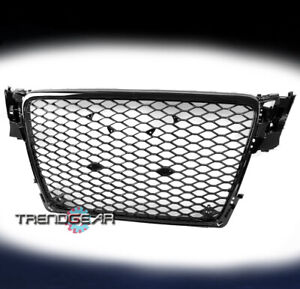Front Mesh Rs4 Style Bumper Hood Hex Grille Black For 2009 2012 Audi A4 S4 B8 8t