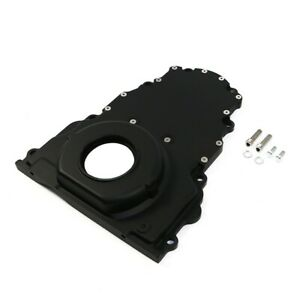 Black Aluminum 2 Piece Ls Engine Timing Chain Cover Chevy Gm With Out Cam Sensor
