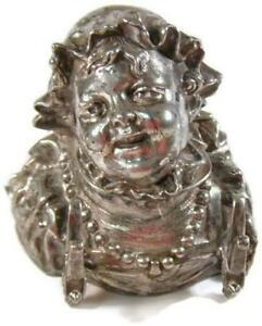 Antique Meriden Silver Plate Figural Inkwell Insert Lady Head Pearl Necklace