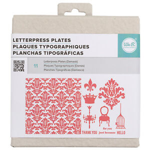 American Crafts We R Memory Keepers Letterpress Plate Set Damask 15 Pieces