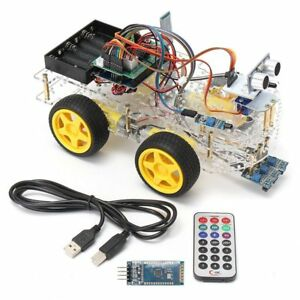 Robot Car Kit For Arduino 4wd Bluetooth Autonomous Obstacle Avoid Line Android