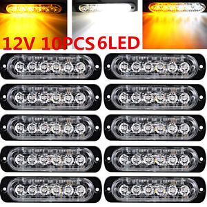 10pcs 6led Emergency Hazard Warning Flash Strobe Beacon Light Bar Amber White