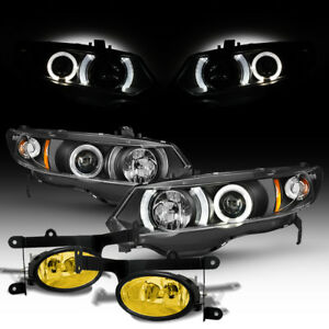 For 06 08 Honda Civic 2dr Halo Projector Black Headlights Jdm Yellow Fog Lights