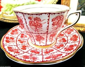 Rosina Tea Cup And Saucer Red And Gold Floral Pattern Chintz Teacup