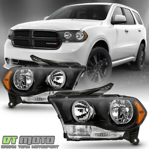Black 2011 2012 2013 Dodge Durango Headlights Halogen Headlamps Model Left right