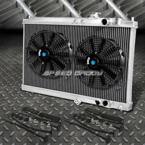 2 Row Aluminum Radiator 2x 12 Fan Black For 94 01 Acura Integra Gs Rs Db Gsr Dc2