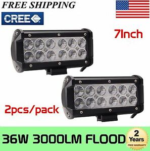 2x 7 inch 36w Cree Led Work Light Bar Flood Lights Driving 4wd Offroad Truck Suv