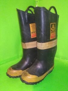 Servus Firebreaker Firefighter Rubber Boot Size 4 Womans Narrow Black Yellow Usa