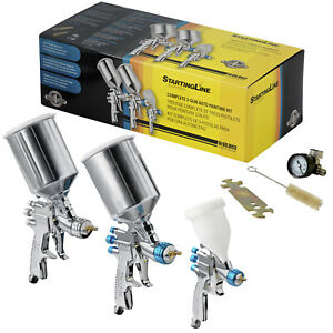 3 Devilbiss Startingline Hvlp Spray Paint Guns W Regulator Topcoat Primer Detail