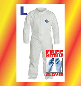 Large Tyvek Protective Coveralls Suit Hazmat Clean up Chemical With Free Gloves