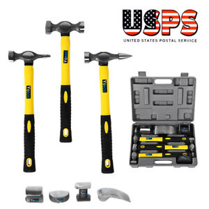 7pc Hammers Car Auto Body Panel Repair Tool Kit With Fibreglass Handles Beating