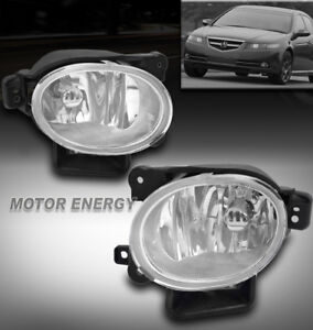 For 07 08 Acura Tl Bumper Driving Fog Lights Lamps Chrome Clear Lens Left right