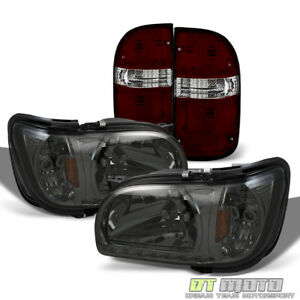 For 2001 2004 Toyota Tacoma Drl Led Headlights W Corner Red Smoked Tail Lamps