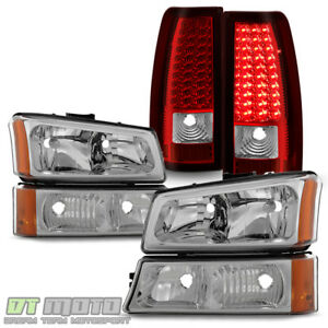 2003 2006 Chevy Silverado 1500 2500 3500 Headlights Red Led Tail Lights Lamps