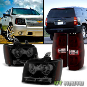 2007 2013 Chevy Suburban Tahoe Heaadlights Dark Red Tail Lights Lamps Left Right