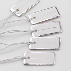 100pcs Paper Price Label Tag Hang String Jewelry Watch Display Retail 20x10mm