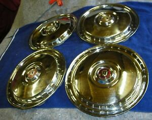 1955 1956 Ford Used Accessory Set Of 4 Large Hubcaps Wheel Covers