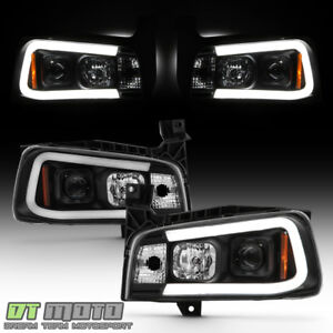 Black 2006 2010 Dodge Charger Led Tube Projector Headlights Headlamp Light 06 10