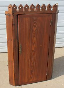 Primitive Corner Wall Cabinet Square Nailed Pine Wood Cupboard Hand Carved Crown
