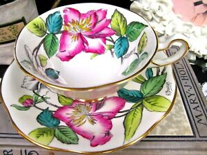 Rosina Tea Cup And Saucer Orchids Painted Artist Signed Teacup Bentley