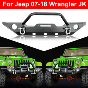 Rock Front Bumper Led Light Winch Plate d rings For 87 06 Jeep Wrangler Tj Yj