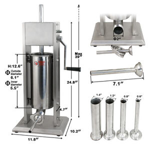 5l Sausage Stuffer Filler Meat Maker Machine Stainless Steel W 4 Stuffing Tubes