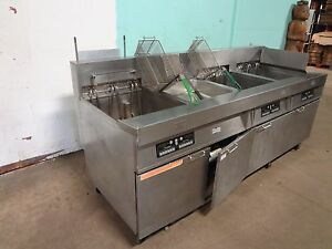 frymaster H d commercial 3 Bank Electric Fryers W auto Lift Filtration Unit