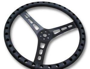Joes Aluminum Lightweight Steering Wheel 15 Flat Drilled 1 dish Blk Joe13535 b