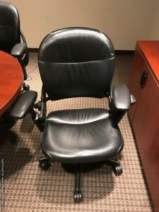 Steelcase Leap V1 Leather Refurbished Chair Fully Loaded Black Frame