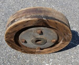 Antique Flat Belt Pulley Wheel hit Miss steam Engine industrial Steampunk Wood