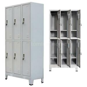 Locker Cabinet Steel 6 Compartment Office School Gym Employee lockers Metal Us