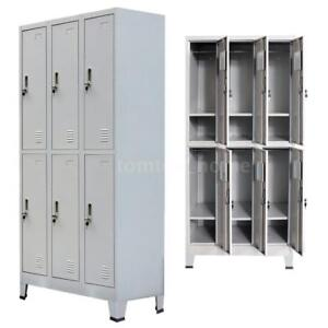 Locker Cabinet Steel 6 Compartment Office School Gym Employee lockers Metal G1n1