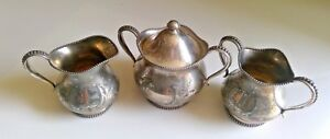 3 Pc Vintage Wilcox Silverplate Creamer And Sugar Bowl And Spooner