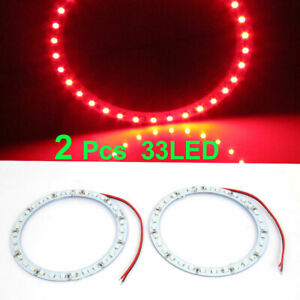 2 Pcs 100mm Dia Red 33 Smd Led Car Rear Angel Eyes Ring Light