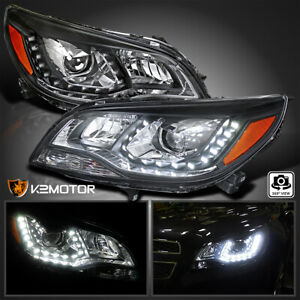 2013 2015 Chevy Malibu Halo Led Projector Headlights Lamps Black Left Right