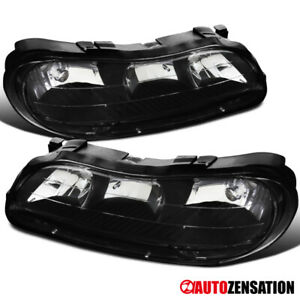 Chevy 97 03 Malibu 04 05 Classic Black Replacement Headlights Front Lamps Pair