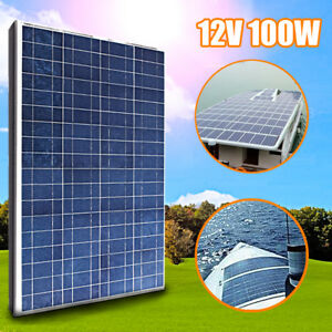 100w 12v Solar Panel Polycrystalline Battery Charger Mc4 Cable For Rv Boat Home