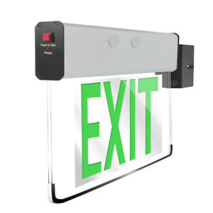 Etop Lighting Green Led Edge lit Rotatable Exit Sign With Battery Backup
