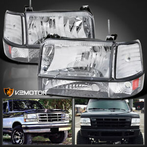 1992 1996 Ford F150 F250 F350 Bronco Headlights Parking Bumper Corner Lamps 6pc
