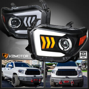 For 2014 2018 Toyota Tundra Led Sequential Signal Projector Headlights Black