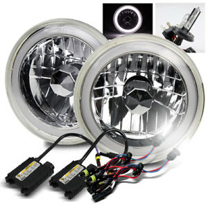 7 Round Semi Seal Chrome Crystal White Smd Halo Headlights 6000k H4 2 Hid Kit