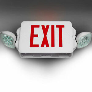 Led Exit Sign Emergency Lighting Red Compact Combo Ul 924 El2cr