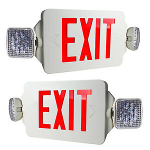 2 Pack Red Letters Led Exit Sign Emergency Light Square Head Combo High Output