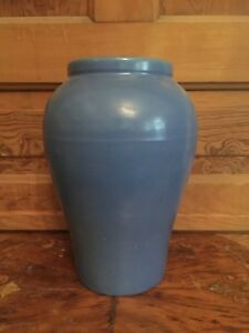 Vintage Large Blue Pottery Arts And Crafts Vase