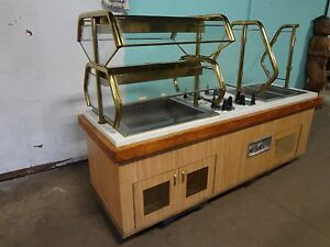 Commercial H d buffet Table W 2 Hot Wells Cold Compartment Sneeze Guard Light