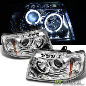 2003 2006 Ford Expedition Led Halo Projector Headlights Headlamps Set Left Right
