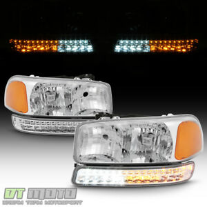 1999 2006 Gmc Sierra 1500 2500 Yukon Xl Headlights W Led Signal Bumper Lamps Set