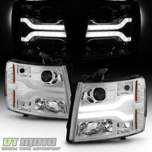 2007 2013 Chevy Silverado 1500 Led Drl Light Tube Projector Headlights Headlamps